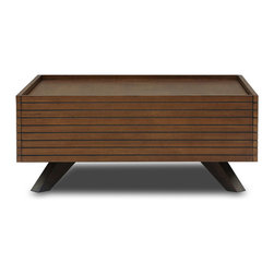 Bryght - Strip Cocoa Wood Coffee Table - The Strip coffee table boasts a visually widening slim groove sleek design with modern undertones. Beautiful wood construction in a cocoa stain makes for a pleasing and well designed coffee table that adds depth and texture to any room. This coffee table comes with storage drawers that make it functional yet stylish.