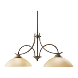 Kichler 2-Light - Olde Bronze Island/Pool Table - Two Light Island Light the olympia collection brings a modern twist on the classic aesthetic to create a new form the likes of which has not been seen before. The curvilinear, flowing arms of these chandeliers, pendants, and wall sconces create a clean, contemporary profile for your home. The olde bronze finish combined with sunset marble glass diffusers and shades present a natural color palate capable of matching any decor. The olympia island light will really make your kitchen island or pool table stand out in a crowd. Utilizing an inspired 2-light design, the island light uses 150-watt bulbs for fine, clean light no matter the application. As always, you can expect a quality fit and finish that Kichler is know for, making the olympia island light a must have piece.