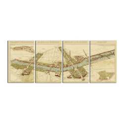 John Kowalski - John Kowalski Paris Map Transitional Wall Art X-20513 - This frameless, giclee artwork on canvas provides crisp color and a high degree of fine detailing. The canvas is stretched and attached to wooden stretching bars.
