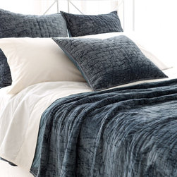 PCH Matte Velvet Juniper Quilt - This quilt can also be used as a throw for a bigger sofa. I love the washed-out look.