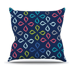"""Kess InHouse - Jolene Heckman """"Simple Flower"""" Blue Flowers Throw Pillow (Outdoor, 18"""" x 18"""") - Decorate your backyard, patio or even take it on a picnic with the Kess Inhouse outdoor throw pillow! Complete your backyard by adding unique artwork, patterns, illustrations and colors! Be the envy of your neighbors and friends with this long lasting outdoor artistic and innovative pillow. These pillows are printed on both sides for added pizzazz!"""