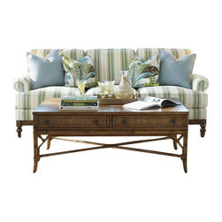 Tommy Bahama Home - Tommy Bahama Home Beach House Ponte Vedra Rectangular Cocktail Table in Golden U - Tommy Bahama Home - Coffee Tables - 010540945 - The bamboo framed reeded drawer fronts are visible on both sides, yet open on one side only allowing a balanced design.