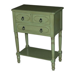4D Concepts - Simple Simplicity Accent Chest in Green - Three drawers. Drawers are carved out with beautiful oval style pattern. Metal pull hardware to drawers. Hand crafted legs are sculpted with decorative pattern. Top is shaped with soft edge and rounded corners. Made from solid wood and wood veneers. Minimal assembly required. 23.6 in. W x 13 in. D x 30.7 in. H (28 lbs.)The simplicity chest is welcome addition to help solve storage needs. Perfect in den or as nightstand in bedroom. This chest is great addition to any room in the house.