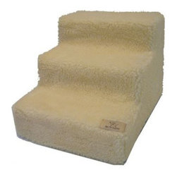 """Best Pet Supplies - Pet Stairs in White Lambswool - Features: -White lambswool fabric cover. -Machine washable. -The 3-step is great for small dogs and access to couches- -The 4-step is great for access to couches and cars. -The 5-step is just right for access to most beds, SUV's and pick-up trucks. Sizes: -3-steps: 13"""" H x 15"""" W x 18"""" D. -4-steps: 19"""" H x 15"""" W x 24"""" D. -5-steps: 23"""" H x 15"""" W x 30"""" D."""