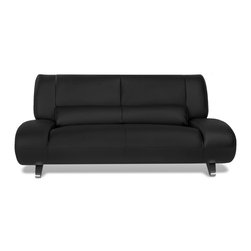 Zuri Furniture - Black Aspen Leather Loveseat - Suggestive of the innovative mod egg chair design, the ultra luxurious Aspen modern sofa set boasts the sleek, simple, soft lines that maximize style and relaxation. Finely crafted from leather in black, brown, or white, the Aspen group embodies timeless design.
