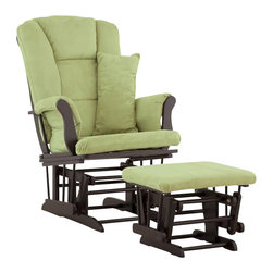 Stork Craft - Stork Craft Tuscany Glider and Ottoman with Free Lumbar Pillow in Black with Sag - Stork Craft - Rocking Chairs Rockers - 0655454B - Available in 6 wood finishes and 4 fabric combinations to create your own custom Tuscany Glider and Ottoman. The Stork Craft Tuscany Glider and Ottoman set offers gentle motion while feeding your baby in those early morning hours. Featuring a solid construction with a magical sleigh design this is a royal centerpiece for your nursery. The enclosed metal ball-bearings allow for an incredibly smooth motion to glide your baby back to sleep. Micro fiber spot-cleanable cushions ease the worry about spills while the construction offers an exquisite finish you'll appreciate far beyond the baby years. The Tuscany Glider comes with a matching soft plush lumbar support pillow for supporting your baby during feeding times.
