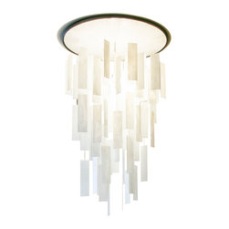 "Ridgely Studio Works - MOVIMENTO Chandelier - Round, White - Polished, 28""dia X 42""h, Polished - The MOVIMENTO Chandelier is composed of hand cut art glass panels, delicately hung on barely visible braided stainless steel line. The illusion of floating glass give the fixture a whimsical feel. The light source can be mounted in the canopy of the fixture or integrated into the hanging glass. This contemporary chandelier works well in residential, hospitality and commercial settings."
