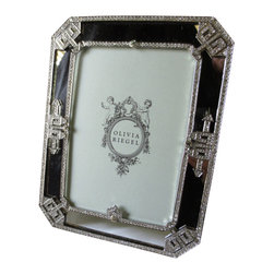 "Olivia Riegel - Olivia Riegel Deco Mirror Frame Swarovski Crystal 5"" x 7"" - Stunning Olivia Riegel Deco Mirror Frame has hundreds of hand-set clear Swarovski® crystals, rhinestones, and mirrored glass in cast pewter setting with silver tone metal finish. Back of frame is an elegant grey silk."