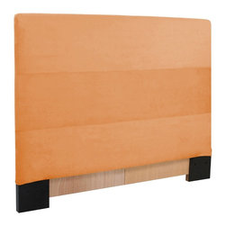 Howard Elliott - Microsuede  Twin Headboard Slipcover - Refresh the look of your slipcovered headboard simply by updating the cover! Change with the seasons, or on a whim. This piece features a tangerine orange faux suede cover.