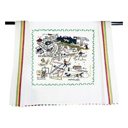 CATSTUDIO - Vermont State Dish Towel by Catstudio - This original design celebrates the green mountain state of Vermont.  This design is silk screened, then framed with a hand embroidered border on a 100% cotton dish towel/ hand towel/ guest towel/ bar towel. Three stripes down both sides and hand dyed rick-rack at the top and bottom add a charming vintage touch. Delightfully presented in a reusable organdy pouch. Machine wash and dry.