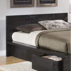 Home Image - City Storage Panel Headboard - Features: -Bolt on rail system used to add to the stability and strength of the bed and support system.-Wood construction.-Charcoal black finish.-City collection.-Distressed: No.Warranty: -1 Year warranty.