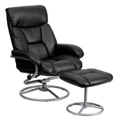 Flash Furniture - Contemporary Black Leather Recliner and Ottoman with Metal Base - This overstuffed leather recliner will look great in any room in the home or office. This set features plush padding throughout the chair and ottoman as well as exposed metal bases. The durable leather upholstery allows for easy cleaning and regular care.
