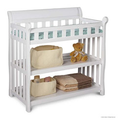Adarn Inc - Eclipse Children Nursery White Full Rail 2 Shelves Changing Table - With our Eclipse Changing Table you will feel confident and your baby will feel secure. Ample changing space and side rails keep your baby safe. Comes with a water-resistant mattress and safety strap. Two shelves provide easy to reach open storage space for baby essentials. The Eclipse Changing Table combines function with style and craftsmanship. Its gorgeous finish makes it a must-have for your little one's nursery. Some assembly required. JPMA certified.