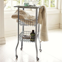 Galvanized Metal Floor Storage - This cute, little cart is intended to be used in a bathroom as extra storage, but it could be utilized in any room. I'm imagining it in the kitchen to store onions and potatoes with a simple flower arrangement placed on top.