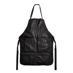 Jung Lee - Leather Apron - Made entirely of leather, this sturdy apron will make cooking more fashion-forward and fun. This classic apron will be a great addition to any modern home.