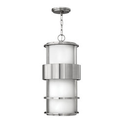 Hinkley Lighting - Saturn Outdoor Hanging Lantern - The Saturn collection fuses contemporary materials and design with a classic Art Deco feel. Comes with 60 in. of chain and 72 in. of leadwire for installation. 5 in. Diameter Canopy. Stainless Steel finish with cased opal etched glass.