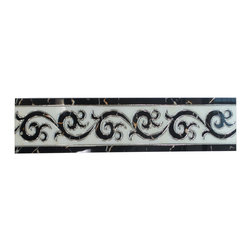 "GL STONE - Black and White Polished Art Border 6x24"" - The black and white polished art border will provide endless design possibilities from contemporary to classic. It creates a great focal point to suit a variety of settings. This art border is suitable for wall and floor. It is the good decor for the master room , drawing room, lobby and entrance space."
