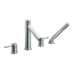 """Moen - Moen T914 Chrome Roman Tub Trim With Hand Shower 8""""-16"""" Two Lever Handles, ADA - Moen T914 is part of the Level bath collection. Moen T914 has a Chrome finish. Moen T914 is a Roman Tub Faucet Trim with hand shower 4-hole 8"""" - 16"""" installation. Roman Tub faucet is a deck-mount with 5 1/4"""" long and 8 15/16"""" high arc spout that provides more clearance and includes hot and cold indicators on the handles. Moen T914 Roman Tub Trim with hand shower fits the MPact common valve system and requires Moen's 9992 or 9993 valve to make this faucet complete. Valve sold separately. Moen T914 Roman Tub Faucet trim includes a single-function hand shower with built in diverter valve. Moen T914 is approved by ADA. Chrome is a proven finish from Moen and provides style and durability. Moen T914 metal lever handle meets all requirements ofADA CSA B-125, ASME A112.18.1M. Lifetime Limited Warranty and 5 Year commercial"""
