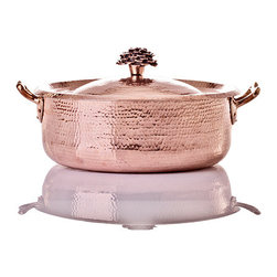 Amoretti Brothers - Amoretti Brothers 7.8 qt Copper Casserole, Flower lid - Amoretti Brothers 7.8 qt Casserole, Flower lid. 2mm copper, tin lining. Wooden gift box included.