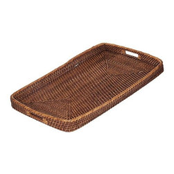 Eco Displayware - Oversized Rattan Bed Tray in Brown - Earth friendly. 32 in. L x 20 in. W x 2 in. H (4.65 lbs.)Using these tray baskets can add an old world touch to your dining table.