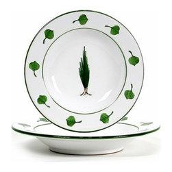 Artistica - Hand Made in Italy - Giardino: Rim Pasta/Soup Plate - Giada Collection: