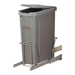 KV Kitchen & Bath Storage - Slide-Out Waste & Recycling Bin/Lidded in Frosted Nickel - Slide-Out Waste Recycling Center/Lidded. 1 - 20 qt. Bin. Fits 9 in. (22.9cm) min. wide opening. Plastic Component Finish-Platinum. Metal Component Finish-Frosted Nickel. 18.3125 in. L x 8.375 in. D x 20 in. H
