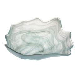 Abigails - Alabaster Shell Shape Glass Bowl, Small - An attractive shell shaped bowl in an alabaster finish. Great filled with your favorite seafood salad or a centerpiece with lots of shells at your beach cabin. Slight variation due to finishing process.