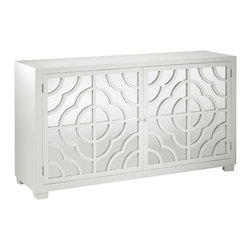 "Inviting Home - Lacquered White Mirrored Credenza - Mirrored credenza with lacquered white finish; 67-3/4""W x 20""D x 38""H; Rectangular credenza with lacquered white finish. This credenza has two doors with mirrored panels and openwork design one shelf inside."