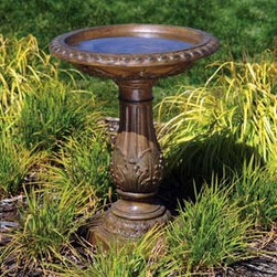 Bond Manufacturing - Torrie Birdbath - Welcome winged wildlife into your garden with this stunning antiquarian design. Its overall splendor is enhanced by the lovely ornamentation on both rim and pedestal.