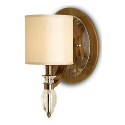 Currey and Company - Sebastian Wall Sconce, 1 Light - What better way to bring sparkle to your room, but with brass and crystal? This stunning wall sconce lights your hallway, entryway or mantle with brilliance.