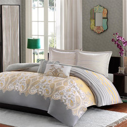 Madison Park - Madison Park Cora 210TC Comforter Mini Set - Give your bedroom a fresh, updated look with the Madison Park Cora collection. The comforter features a yellow and grey floral paisley pattern that is printed next to a colorblock stripes of yellow, grey and white. The sham features a coordinating pin stripe pattern. The comforter and sham is printed on 210TC cotton sateen and reverses to a solid grey color on soft brushed microfiber fabric. comforter/sham face in 100% cotton T210 sateen printed on TOB, back in solid microfiber 75g, filling is 100% polyester, 270g/m2