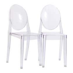 Modway Furniture - Modway Casper Dining Chairs Set of 2 in Clear - Dining Chairs Set of 2 in Clear belongs to Casper Collection by Modway Combine artistic endeavors into a unified vision of harmony and grace with the ethereal Casper Chair. Allow bursts of creative energy to reach every aspect of your contemporary living space as this masterpiece reinvents your surroundings. Surprisingly sturdy and durable, the Casper Chair is appropriate for any room or outdoor setting. Pure perception awaits, as shining moments of brilliance turn visual vacuums into new realms of transcendence. Set Includes: Two - Casper Side Chairs Side Chair (2)