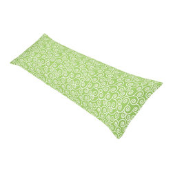 Sweet Jojo Designs - Sweet Jojo Designs Olivia Scroll Print Full Length Double Zippered Body Pillow C - Add beauty to your body pillow with this pretty printed body pillow cover. This green-and-white cover is made from super soft,cool-to-the-touch 200-thread-count 100 percent cotton and features an all-over scroll print with a twill weave.