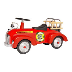Morgan Cycle - Morgan Cycle Vintage Fire Engine Scoot-ster Riding Push Toy Multicolor - 71105 - Shop for Tricycles and Riding Toys from Hayneedle.com! Your young fire fighter will love the ringing bell wood ladders and red color of the Fire Engine Scoot-ster Push Toy. This classic foot-to-floor ride-on toy features a durable steel body with chromed accents and a real working steering wheel. Steel wheels with rubber tires provide excellent control and traction for scooting around. The adjustable seat can be repositioned as your child grows. Recommended for children one to three years of age. Assembles easily.