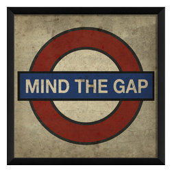 The Artwork Factory - 'Mind the Gap' Print - Relive your days on London's tube or just relish the British reserve and absurdity of the iconic sign. The U.S. made, high-resolution, wood-framed print, in classic red white and blue, adds a worldly and cheeky flavor to your decor.
