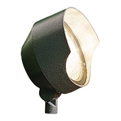 """Kichler 1-Light Landscape Fixture - Textured Architectural Bronze - One light landscape fixture. This lighting outdoor spot light features a large size that is great for wall washing. The hood prevents glare while the entire fixture is finished in a textured architectural bronze for a classy look. Wiring is 42"""" of usable #18-2, spt-1-w leads. cable connector supplied with fixture. Supply wire lugs attach directly to par 36 light bulb screw terminals. light bulb secured in place with retaining ring. 8"""" in-ground mounting stake (included)."""