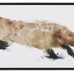 Fox Print - Using tonal brown washes for the fur and bold gestural lines to animate the feet and ears, Emma Brooks captures the swift movement of a fox on the prowl in this gorgeous work on paper. She leaves the white of the paper to describe the snowy surface as well as to add definition to the animal's coat, demonstrating a masterful, sensitive approach to working in watercolors. Our gicl�e reproduction of the original painting is printed on canvas without a mat in a floating, black wood frame.