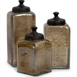 "Imax Worldwide Home - Square Brown Luster Canisters - Set of 3 - Attractive square hammered brown luster glass canisters with metal lids; Country of Origin: India; Weight: 8.6 lbs; Dimensions: 8.5-10.25-13""h x 4.75-4.75-4.75""w x 4.75-4.75-4.75""d"
