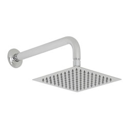 """Hudson Reed - Bathroom 8"""" Chrome Square Shower Head Slim Rain Style Fixed Overhead & Wall Arm - Enjoy a refreshing showering experience with this 8"""" square shower head from Hudson Reed. Featuring a chrome finish to blend in seamlessly with any decor, as well as easy to clean nozzles, this high quality shower head is supplied complete with the wall mounted arm."""