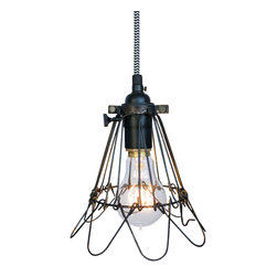 Hammers & Heels - Industrial Trouble Cage Pendant Light-Chevron Cloth Cord - WIRE CAGE PENDANT LIGHT