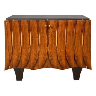 Eco Friendly Furnture and Lighting - USA 2009 Slate top cabinet by Antoine Schapira. Slip matched vintage Brazilian rosewood veneer. Two door cabinet with a single, full length adjustable shelf. Signed with makers mark