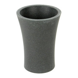 Gedy - Round Toothbrush Holder Made From Stone in Black Finish - Made in stone and finished with black. This free-standing round bathroom tumbler (part of the Gedy Flaca collection) is great for your contemporary personal bath. Made in and imported from Italy by Gedy. Contemporary & modern toothbrush holder/tumbler mad