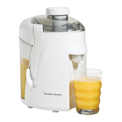 HamiltonBeach - HealthSmart Juice Extractor, White - Includes twenty five food and drink recipes. Healthy, fresh-tasting fruit and vegetable juices. Large, easy-to-remove pulp bin. Durable stainless steel cutter/strainer. Safety latches. Warranty: One year limitedThe HealthSmart Juice Extractor in White is perfect for whipping up the freshest possible fruit and vegetable juices. The durable stainless steel cutter-strainer helps create healthy, fresh-tasting fruit and vegetable juices. Its easy to store and clean and the large pulp bin removes easily.