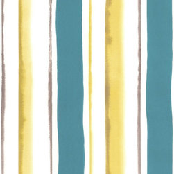 Graham & Brown - Waterfall Teal Wallpaper - Fluid watercolour stripe designed to coordinate perfectly with Poppies.