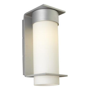 Palm Lane Large Outdoor Wall Sconce by LBL Lighting - Palm Lane large outdoor wall sconce features a clean-lined metal base with an opal glass cylinder. Finish available in black, bronze or silver. Available in a small or large size option. Fixture available with incandescent or compact fluorescent lamping option.