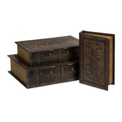Imax Worldwide Home - Old World Book Box Collection, Set of 3 - Old world faux leather detail book box collection. Boxes/Baskets/Storage. 9.5-12.5-14.5 in. H x 6.5-8.25-10.5 in. W x 2-2.75-3.74 in. D. 75% MDF, 20% Pu, 5% Twilled Swansdown