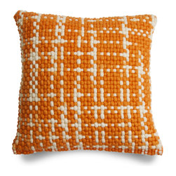 Blu Dot - Blu Dot Bubbie Pillow, Orange - Hand-woven wool and cotton pillow. Available in two colors (Orange and Grey) and one huggable size.