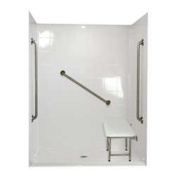 """Ella's Bubbles - Ella Standard Plus 36 Barrier Free, 60""""W x 33""""D x 78""""H, Center Drain - The Ella Standard Plus 36, (5-Piece) 60 in. x 33 in. Roll in Shower is manufactured using premium marine grade gel coat fiberglass which creates a smooth, beautiful, long lasting surface with anti-slip textured shower base floor. Ella Standard Plus 24 Barrier Free Shower walls are reinforced with wood and steel providing flexibility for seat and grab bar installation at needed height for any size bather. The integral self-locking aluminum Pin and Slot System allows the shower walls and the pre-leveled shower base to be conveniently installed from the front. Premium quality material, no need for drywall or extra studs for fixture support, 30 Year Limited Lifetime Warranty (on shower panels) and ease of installation make Ella Barrier Free Showers the best option in the industry for your bathtub replacement or modification needs. The Ella Standard Plus 36 Barrier Free, Roll In Shower comes with three (3) 36 inch satin finish straight stainless steel grab bars (not installed to allow for custom positioning), a four legged fold-up seat, a textured slip resistant Grip Sure™ floor, a collapsible white rubber dam which allows for easy wheelchair roll over into the shower stall and keeps water inside the shower."""