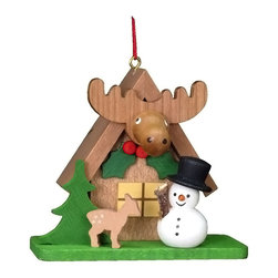 "Alexander Taron - Christian Ulbricht Ornament - Snowman with ""Elk"" House - 2.5H x 2.75W x 1.5D - A tiny snowman and deer are in front of this house - featuring an Elk. From Christian Ulbricht - made in Germany - hand painted wooden ornament."