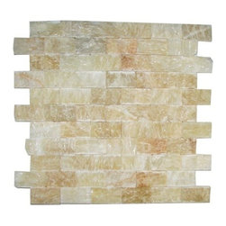 """Marbleville - Honey Onyx 1"""" x 2"""" Split Face Finish Brick Pattern Mesh-Mounted Mosaic in 12"""" x - Premium Grade Honey Onyx 1"""" x 2"""" Splitface Finish Brick Pattern Mesh-Mounted Onyx Mosaic is a splendid Tile to add to your decor. Its aesthetically pleasing look can add great value to any ambience. This Mosaic Tile is made from selected natural stone material. The tile is manufactured to high standard, each tile is hand selected to ensure quality. It is perfect for any interior projects such as kitchen backsplash, bathroom flooring, shower surround, dining room, entryway, corridor, balcony, spa, pool, etc."""